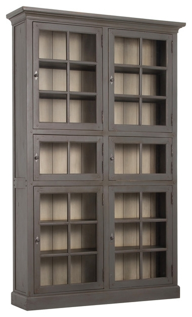 Preferred Geoff Industrial Loft Dark Brown Square Grid 6 Door Wooden Regarding Wooden Bookcases (View 8 of 15)