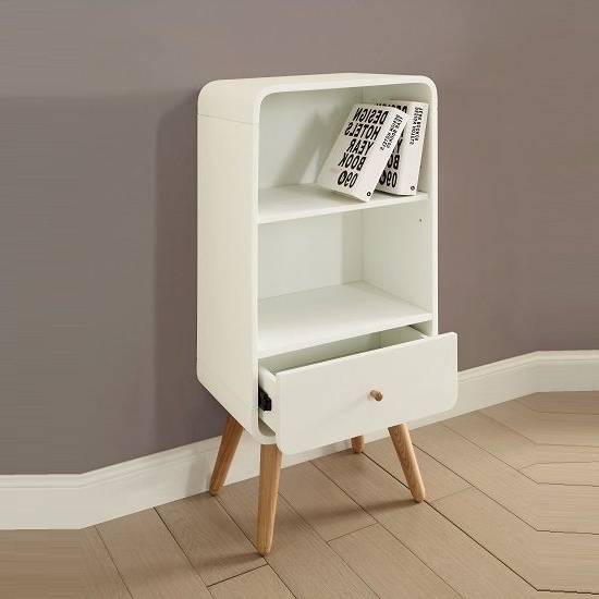 Preferred Small White Bookcases Within Worcester Wooden Small Bookcase In White Ash With 1 Drawer (View 11 of 15)
