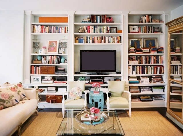Preferred Tv And Bookshelves With Bookcases Around Tv, Chairs In Front Of Television Divided (View 6 of 15)
