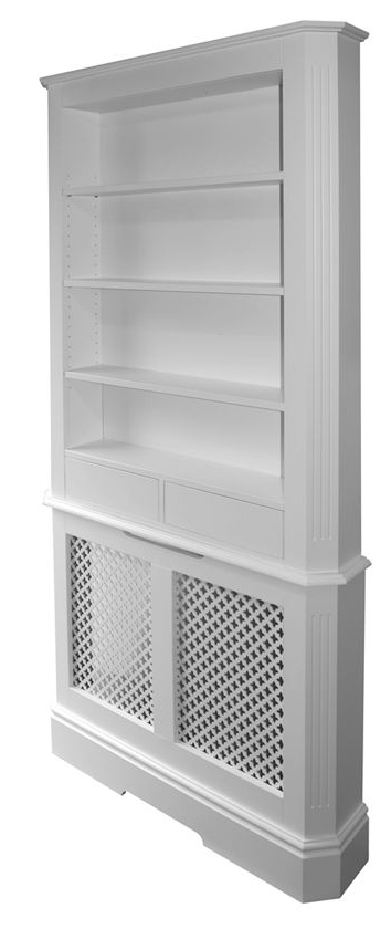 Radiator Cover With Bookcases Above Intended For Trendy Bright And Neat Hallway With Covered Radiator (View 4 of 15)