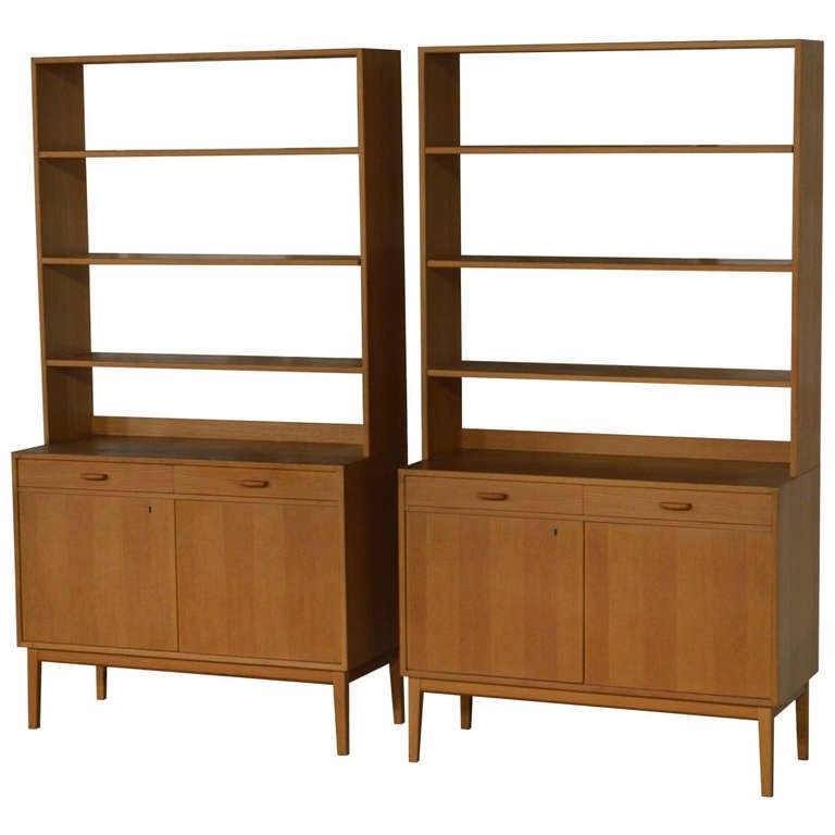 Rare Pair Of Swedish Mid Century Modern Storage Bookcases For Sale Inside 2017 Mid Century Bookcases (View 3 of 15)