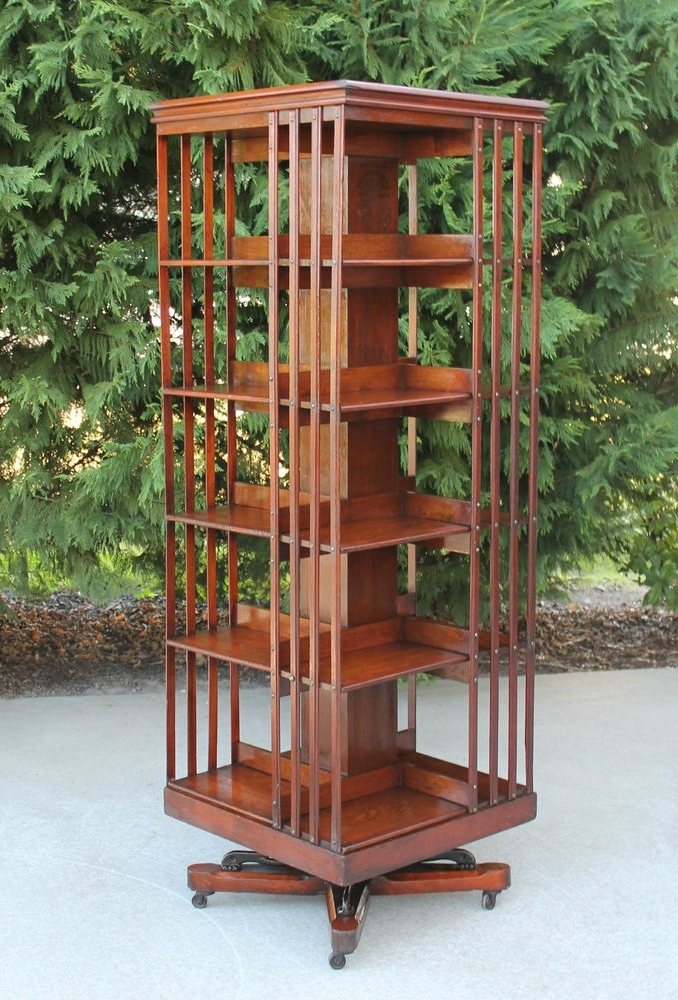 Rare Size~antique Danners Revolving Rotating Lawyers Walnut Regarding Recent Rotating Bookcases (View 12 of 15)