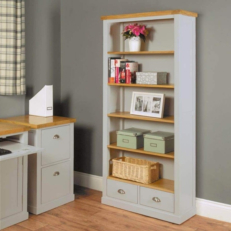 Recent Light Grey Painted Oak Veneer Bookcases (View 9 of 15)