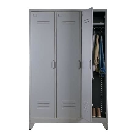 Recent Metal Wardrobes Regarding Wardrobes ~ Steel Wardrobe Lockers Max Metal 3 Door Locker (View 11 of 15)