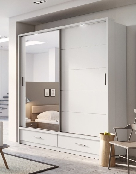 Recent Sliding Door Wardrobes Inside Sliding Door Wardrobe 'arti Ar 05' White 200 Cm (View 5 of 15)