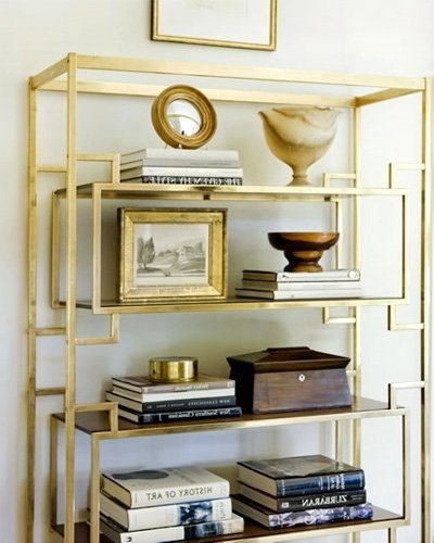 Recent Two Lovely Things: Gold + Geometric} :: This Is Glamorous In Gold Metal Bookcases (View 5 of 15)