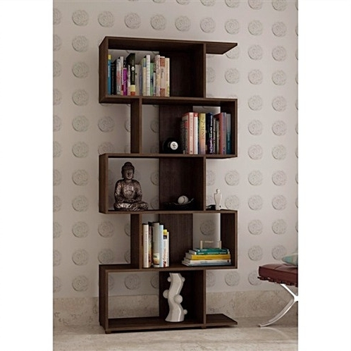 Recent Zig Zag Bookcases For Modern Zig Zag Bookcase With 5 Shelves In Dark Brown Finish (View 8 of 15)