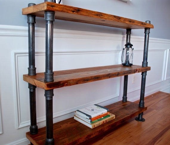 Reclaimed Wood Bookcases In Preferred Industrial Pipe And Wood Bookshelf Reclaimed Wood Bookshelf (View 10 of 15)