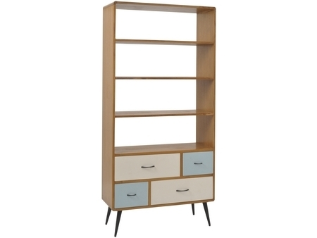 Retro 50S Style Bookshelf With Drawers (View 14 of 15)