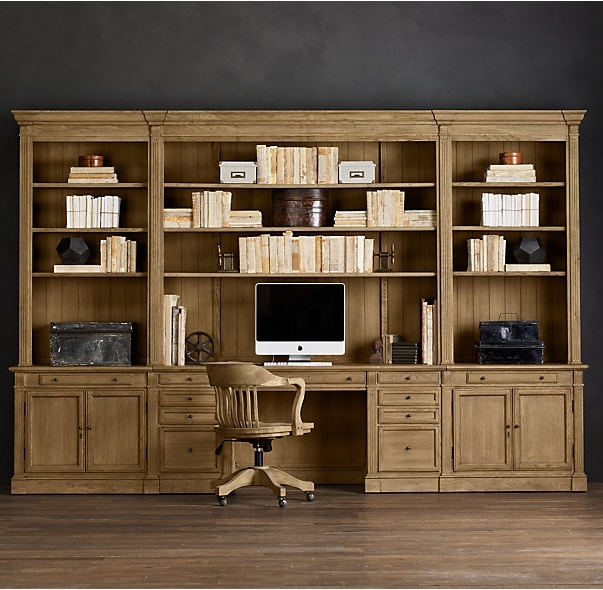 Rh's Library Desk Wall System:our Solid Wood Bookcase System Is For Most Popular Library Bookcases Wall Unit (View 13 of 15)