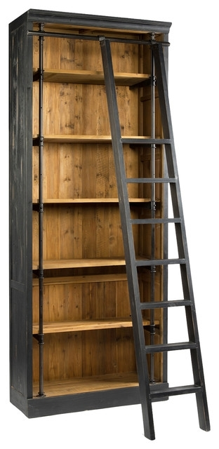 Rustic Bookcases Inside Favorite Ashlyn Rustic Lodge Pine Wood Metal Ladder Bookcase – View In Your (View 9 of 15)