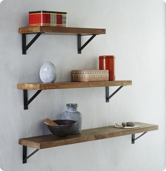 Rustic Wood Wall Shelves With Metal Brackets Inside Best And Newest Wooden Wall Shelves (View 14 of 15)