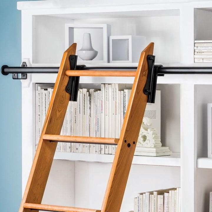 Satin Black 8' H Rockler Classic Rolling Library Ladder Kit Throughout Famous Library Ladder Kit (View 12 of 15)