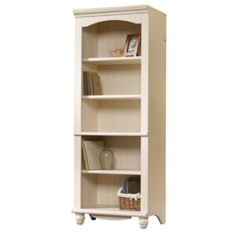 Sauder 5 Shelf Bookcases Throughout Famous Library 5 Shelf Bookcase In Antiqued White –  (View 12 of 15)