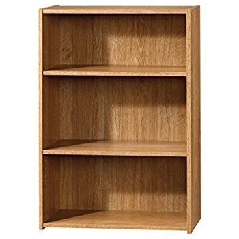 Saunders Bookcases Throughout Favorite Amazon: Sauder Beginnings 3 Shelf Bookcase, Highland Oak (View 11 of 15)