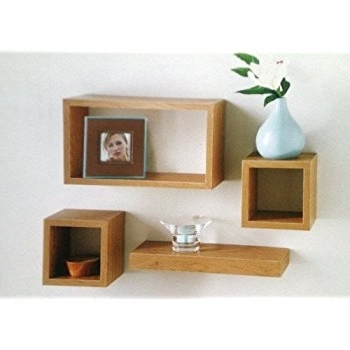 Set Of 4 Floating Wall Storage Display Book Cubes Shelves Stand In Newest Oak Wall Shelves (View 12 of 15)