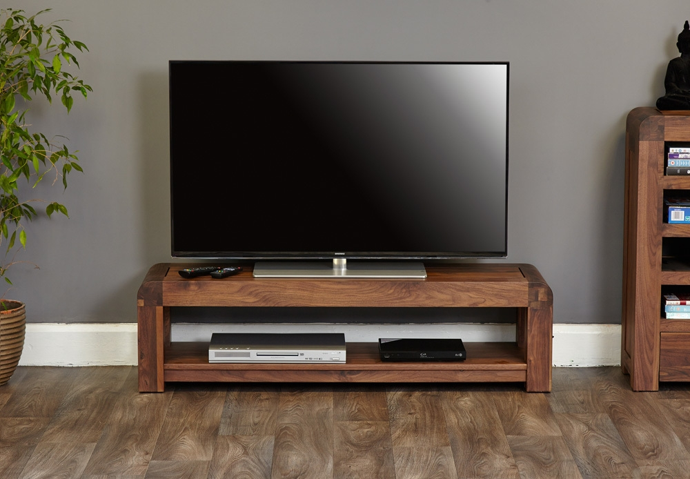 Shiro Walnut Low Tv Cabinet (View 12 of 15)