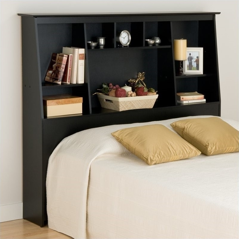 Slant Back Tall Full Queen Bookcase Headboard In Black – Bsh 6656 Inside Most Popular King Size Bookcases Headboard (View 13 of 15)