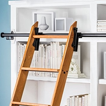 Sliding Library Ladder Pertaining To Most Popular Amazon: Rockler Classic Rolling Library Ladder Kit, 8'h With (View 14 of 15)