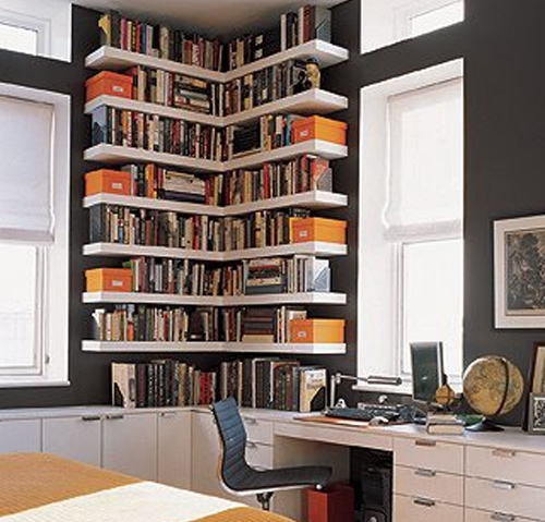 Small Corner Bookshelves/library. Great Use Of The Space (View 6 of 15)
