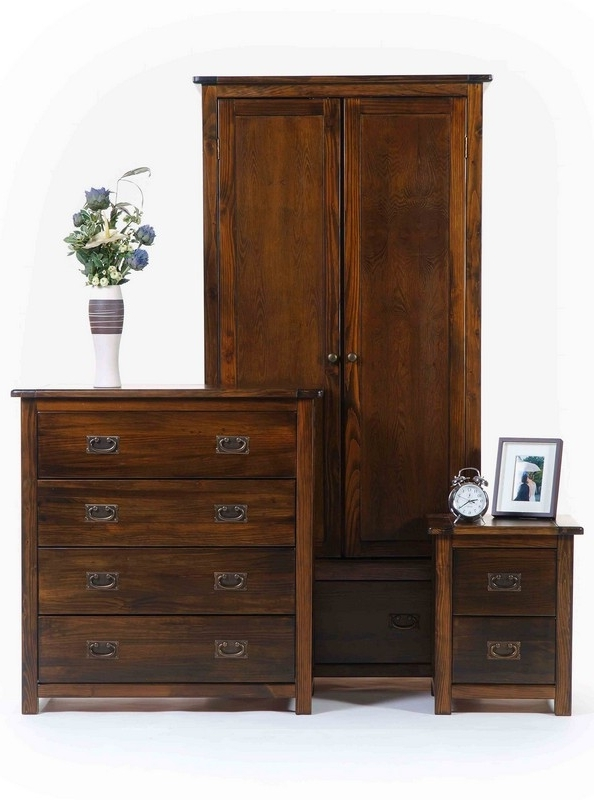 Solid Dark Wood Wardrobes For Latest Boston Dark Pine 2 Door 1 Drawer Wardrobe (View 8 of 15)
