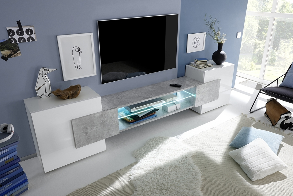 Sorriso Low Tv Unit – White Gloss With Grey/black/natural Lacquer In Well Liked Low Media Unit (View 13 of 15)
