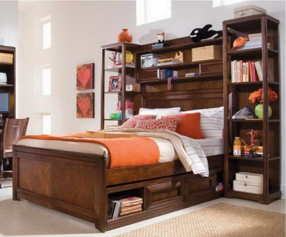 Storage Bed With Bookcase Headboard Full Size Twin Ideas Modern For Best And Newest Queen Size Bookcases Headboard (View 2 of 15)