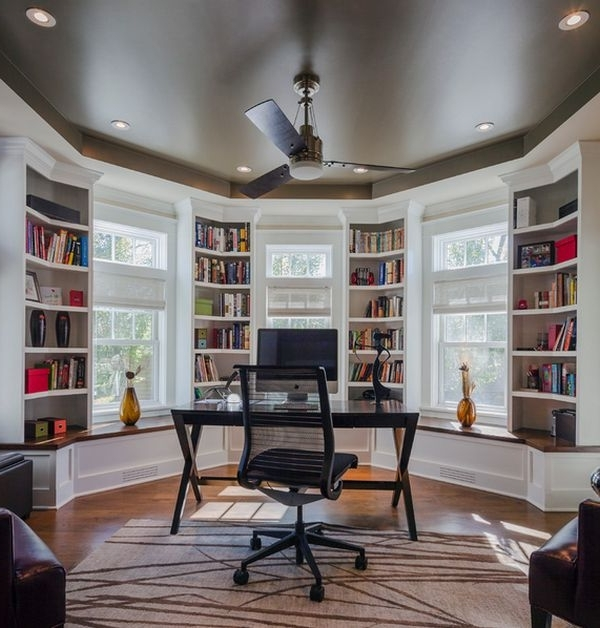 Study Bookcases Throughout Most Current Furniture: Home Study With Beautiful Bookcases Black Desk With (View 12 of 15)