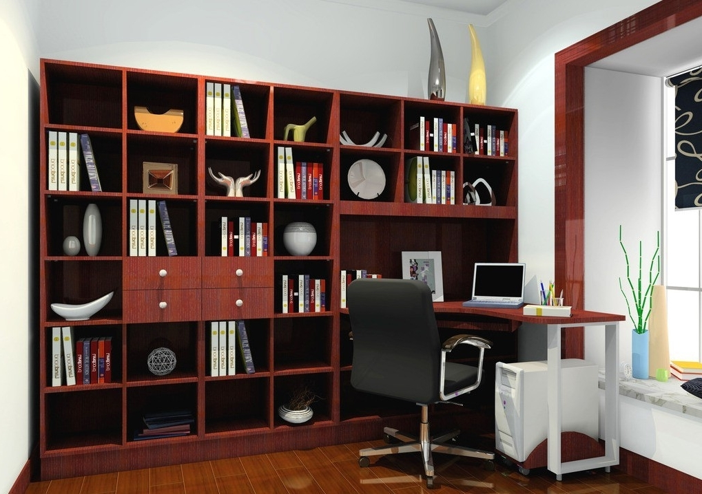 Study Bookshelves Within Latest Bookshelves With Study Table Impressive Set Apartment At (View 14 of 15)