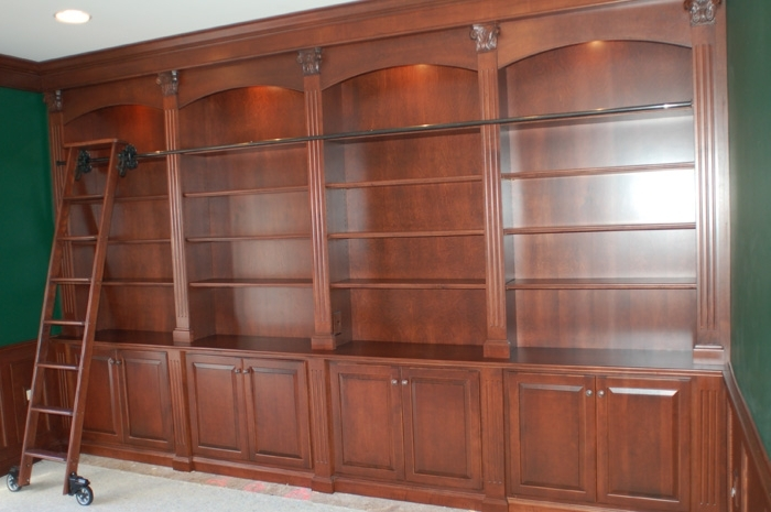Study Room: Awesome Classic Wooden Style Custom Home Libraries In Popular Classic Bookshelves Design (View 11 of 15)