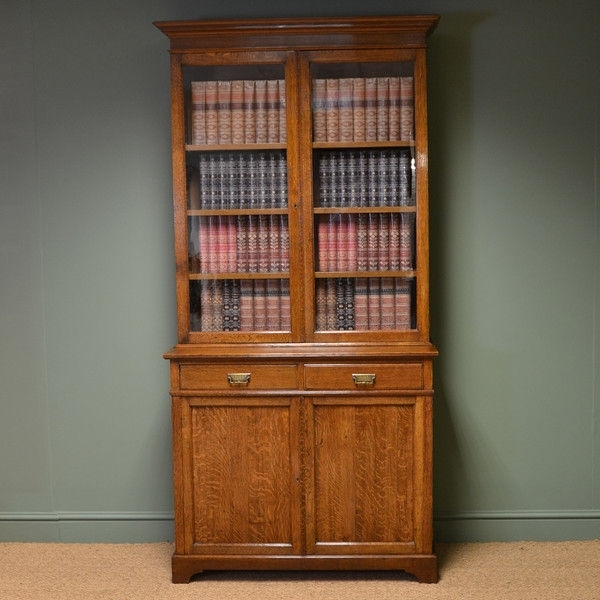 Stunning Maple & Co Edwardian Oak Antique Glazed Bookcase On With Regard To Newest Oak Glazed Bookcases (View 13 of 15)
