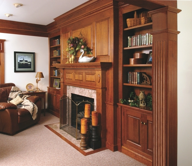 Traditional Bookshelves With Regard To Famous Traditional Cherry Fireplace Mantel And Bookshelves – Traditional (View 4 of 15)