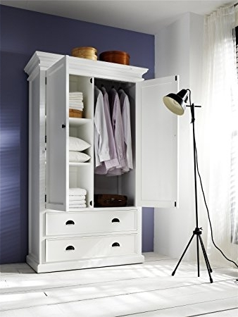 Trendy Amazon: Novasolo Halifax Pure White Mahogany Wood Storage With Wardrobe With Drawers And Shelves (View 9 of 15)