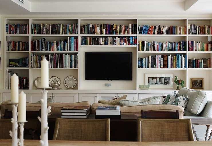 Trendy Built In Bookcases – Transitional – Living Room – Adelaide Bragg Regarding Bookcases With Tv (View 14 of 15)