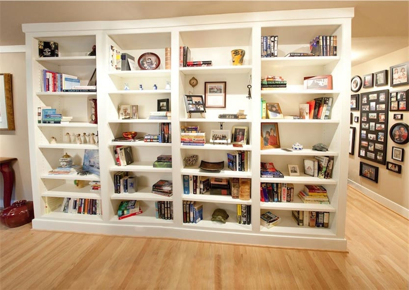 Trendy Custom White Bookcases And Media Cabinet In Columbia, Maryland Regarding White Bookcases (View 7 of 15)