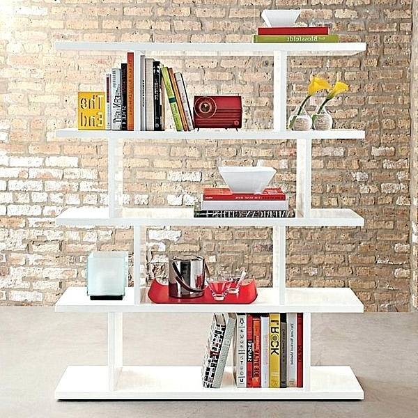 Trendy Decorative White Shelf Free Standing Bookshelves Near Brick Wall Pertaining To Free Standing White Shelves (View 13 of 15)