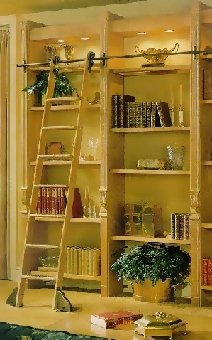 Trendy Rolling Library Ladder In Rolling Ladders, Custom Library Ladders, Wooden Ladders: Putnam (View 12 of 15)