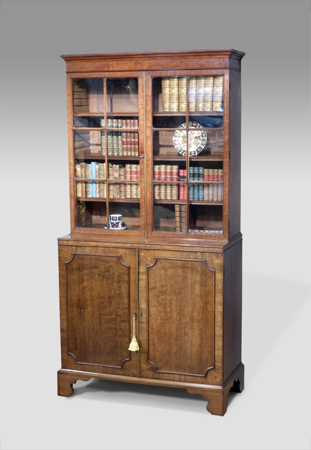 Trendy Small Antique Bookcase Cabinet, Library Bookcase, Georgian Pertaining To Cupboard Bookcases (View 12 of 15)