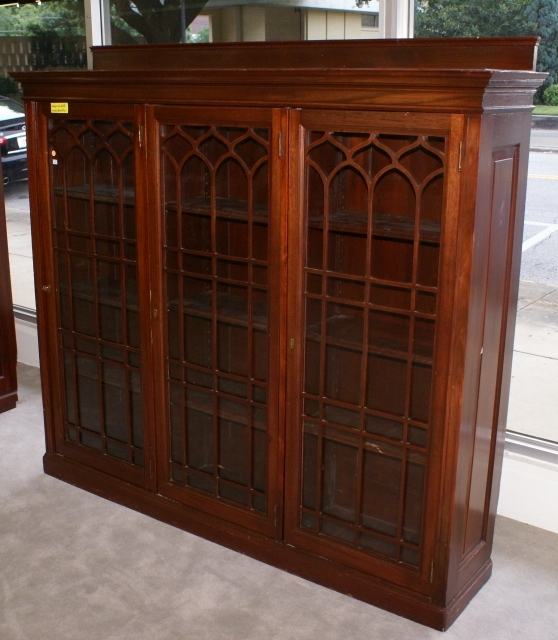 Triple Door Solid Mahogany Antique Bookcase Intended For Current Mahogany Bookcases (View 13 of 15)