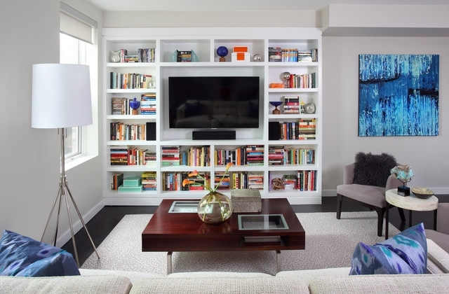 Tv And Bookshelves Inside Most Recent Bucktown Residence – Contemporary – Family Room – Chicago  Kim (View 9 of 15)