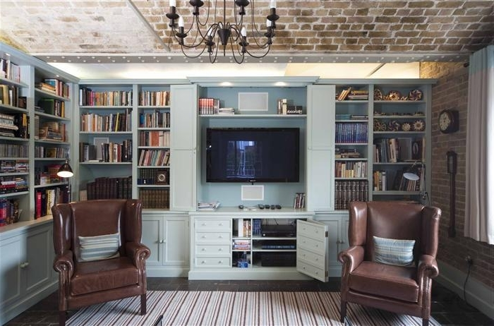 Tv And Family Room With Famous Tv Book Case (View 13 of 15)