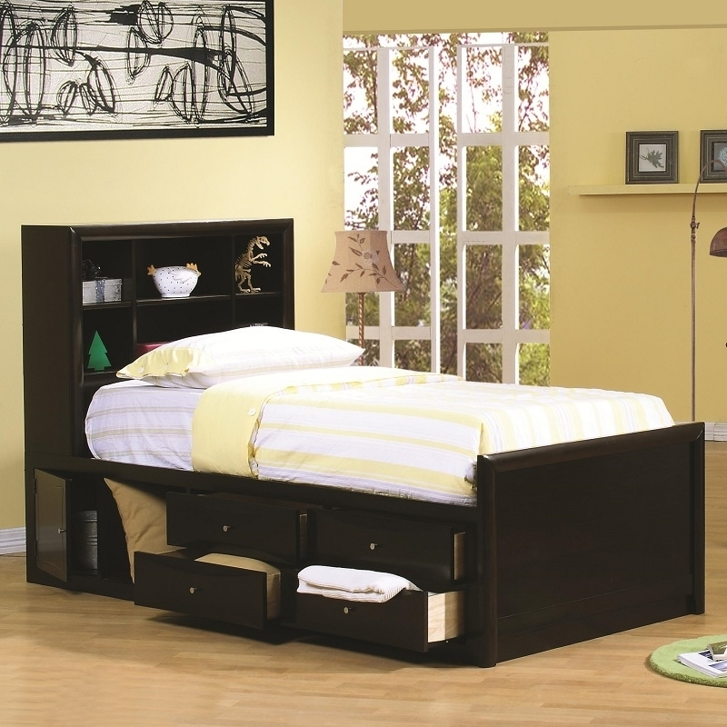 Twin Headboard Bookcases For Well Known Twin Beds With Bookcase Headboard # (View 10 of 15)