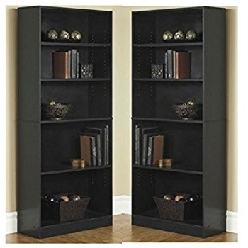 Two Shelf Bookcases With Most Up To Date Amazon: Orion Wide 5 Shelf Bookcase Black (Pack Of 2): Kitchen (View 12 of 15)