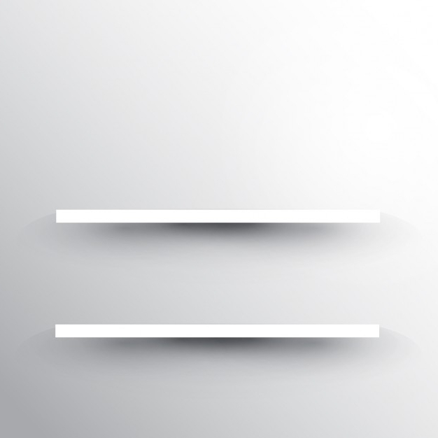 Two Shelves On A White Wall Background Vector (View 11 of 15)