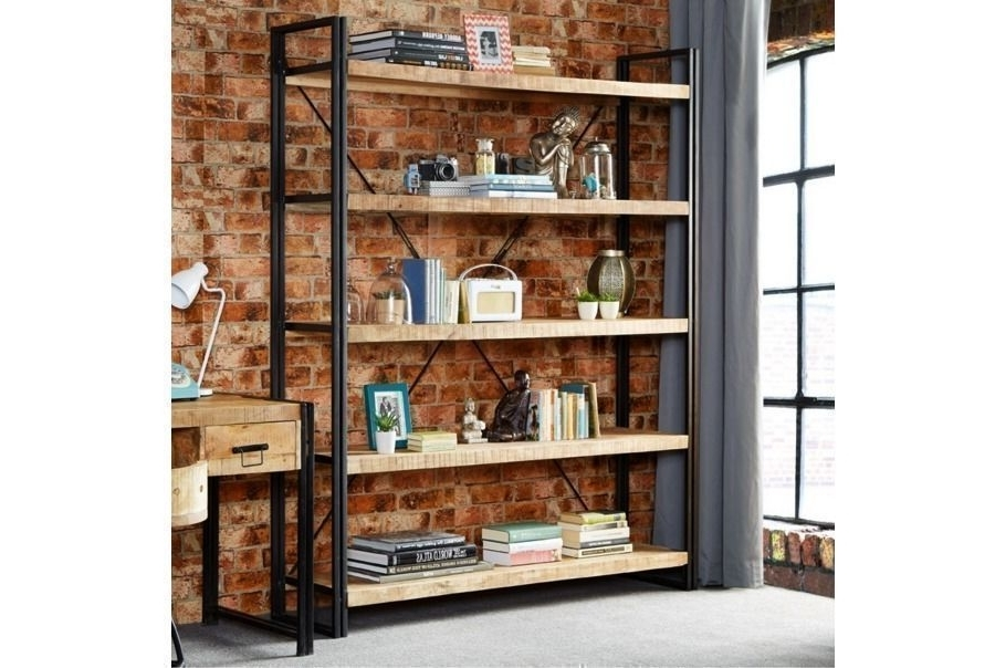 Very Large Industrial Steel Hardwood Bookcase Reclaimed Rustic Inside Latest Industrial Bookcases (View 10 of 15)
