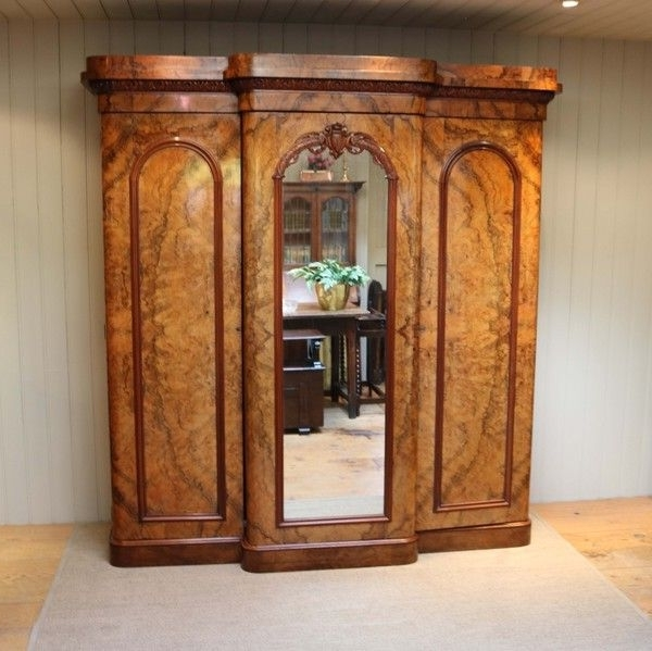 Victorian Mahogany Breakfront Wardrobes For Most Up To Date Mid Victorian Burr Walnut Break Front Wardrobe (C. 1870 English (Gallery 15 of 15)