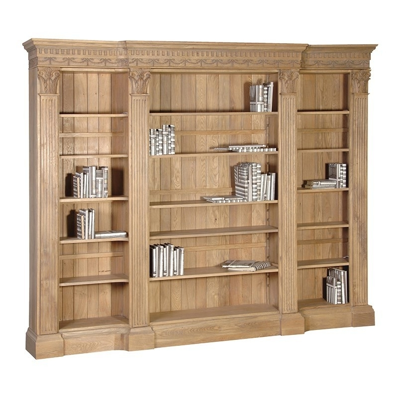 Villeneuve Oak Breakfront Bookcase (Gallery 13 of 15)