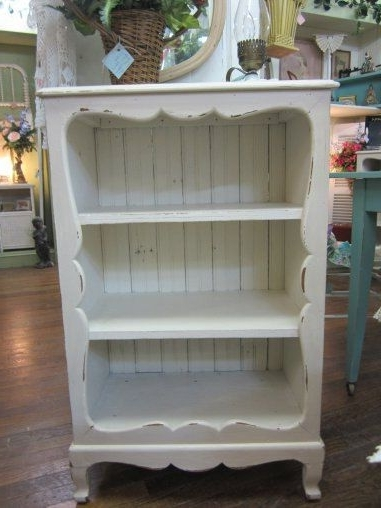 Vintage Shabby Chic Hand Painted Bookcase Bead Board Back With Regard To Most Current Hand Painted Bookcases (View 14 of 15)