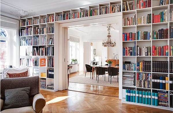 Wall Book Shelves With Bright Wooden Book Partitions And Full Wall With Latest Whole Wall Shelves (View 11 of 15)