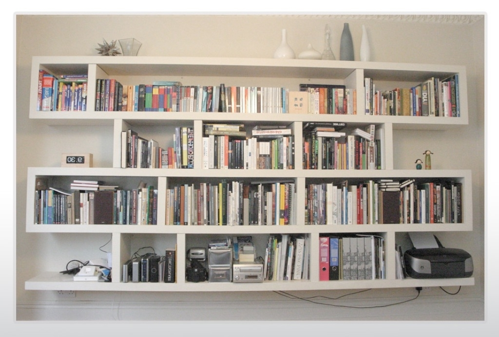 Wall Bookcases Within Best And Newest White Wall Shelves Design Home Designs – Dma Homes (View 15 of 15)